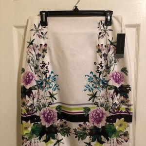 Worthington floral/flowered border skirt